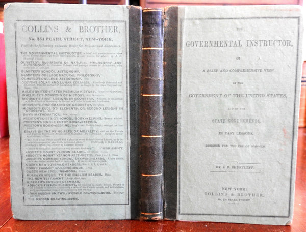 United States Government State & National 1846 School book civics old book