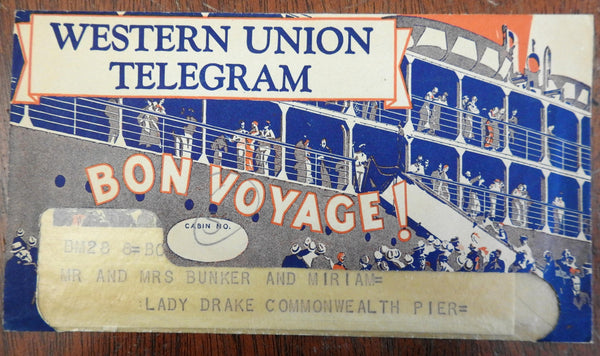 Pictorial Western Union Telegram Bon Voyage! 1937 sea voyage liner telegram