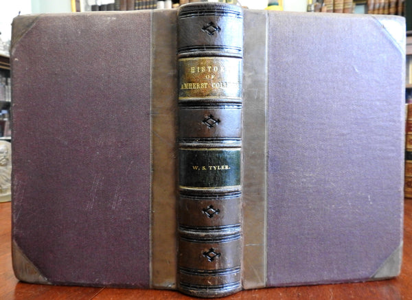 Amherst College History 1821-1871 W.S. Tyler 1873 fine leather book illustrated