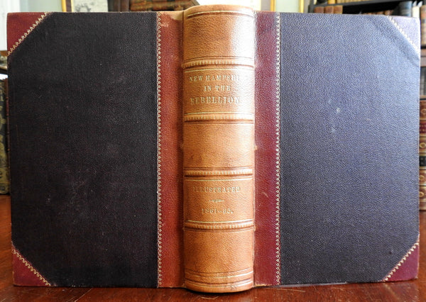 New Hampshire in the Civil War 1870 Otis Waite signed illustrated leatherbook