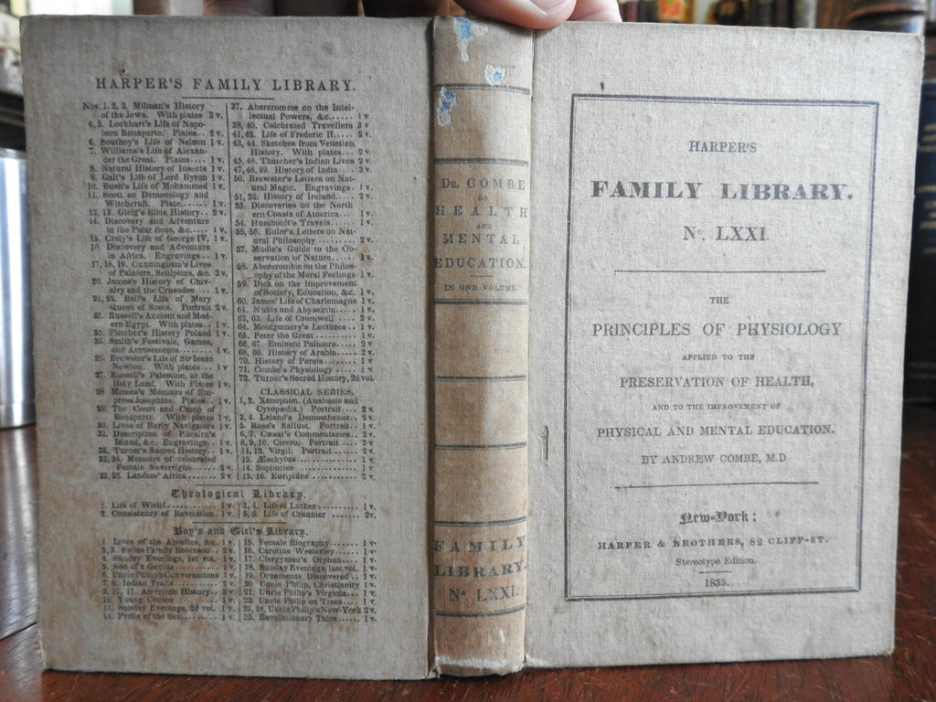 Principles of Physiology 1835 Combe Harper's Family Library science medicine