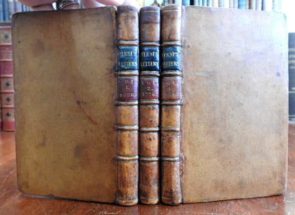 Laurence Sterne Letters & Family Memoirs 1776 lovely 3 vol. leather set memoirs