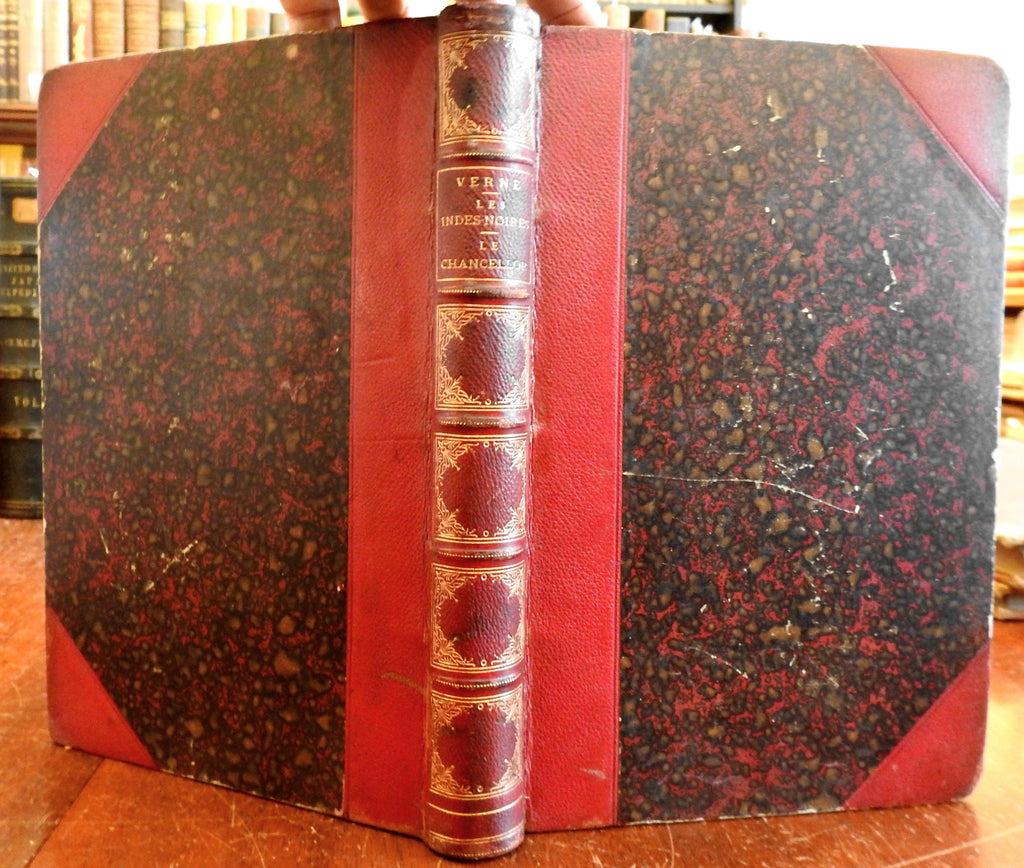 Jules Verne 1877 Voyages Extraordinaries Les Indes-Noires 1st Ed. leather book
