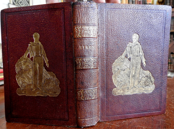 Lord Byron Poetical collected Works 1841 lovely decorative gilt leather binding