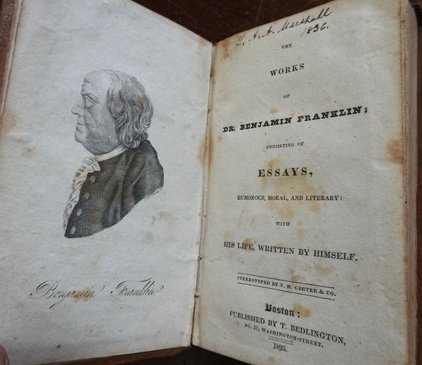 Works of Ben Franklin Essays Autobiography 1825 Americana leather book