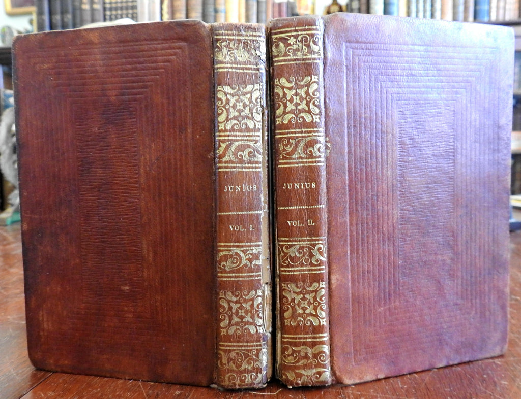 Letters of Junius 1826 British Political Philosophy 2 vol. rare nice leather set