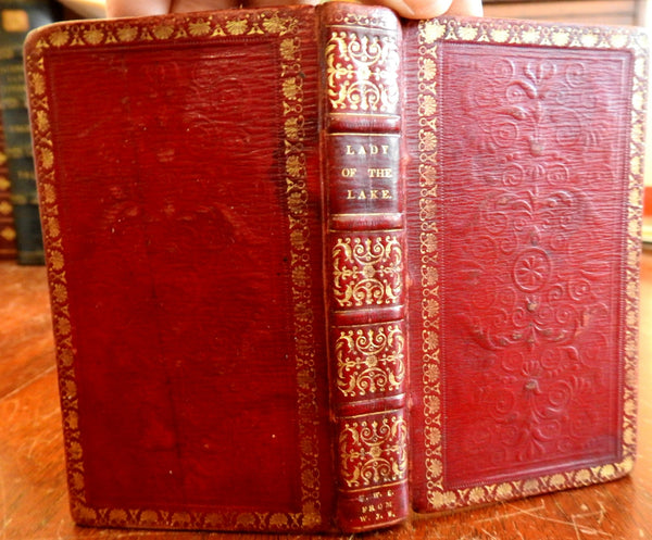 Lady of the Lake 1810 Sir Walter Scott decorative embossed leather book