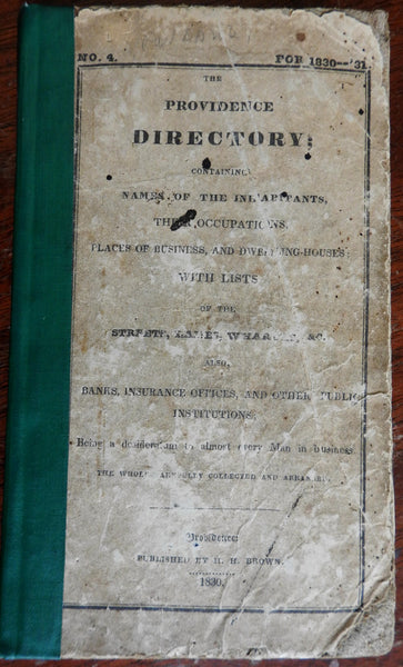 Providence Rhode Island City & Business Directory 1830 rare book w/ occupations