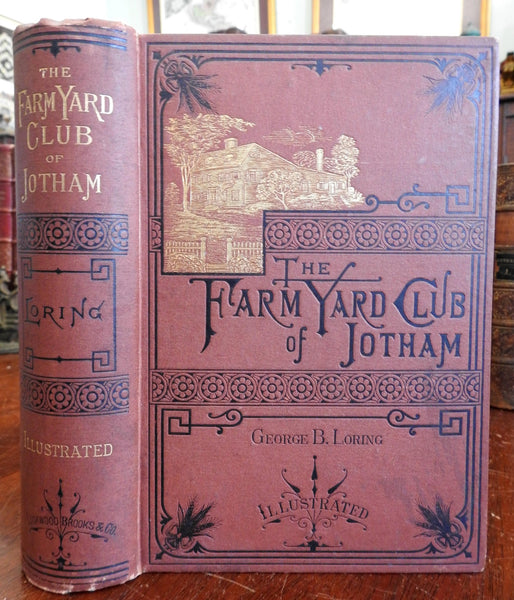 Farm Yard of Jotham Husbandry cattle 1876 Loring illustrated decorative book