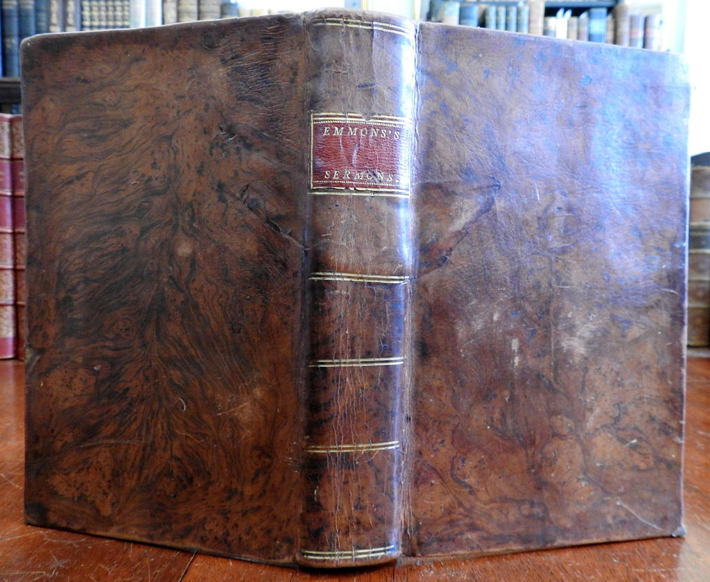 Sermons on Principles Doctrines True Christian Religion 1800 Emmons leather book