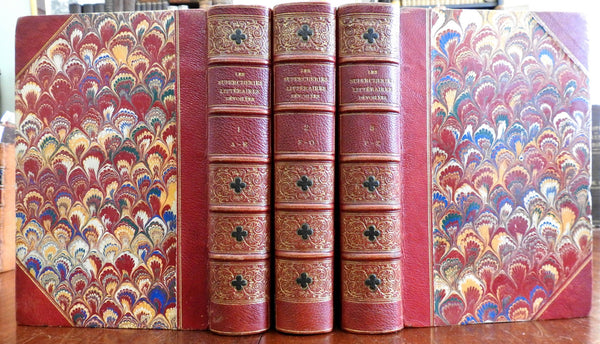 Bibliography French Anonymous Works 1869 Brunet Querard 3 vol. fine leather set