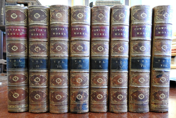 William Cowper Works 1853 decorative leather bindings 8 vol set w/ engravings