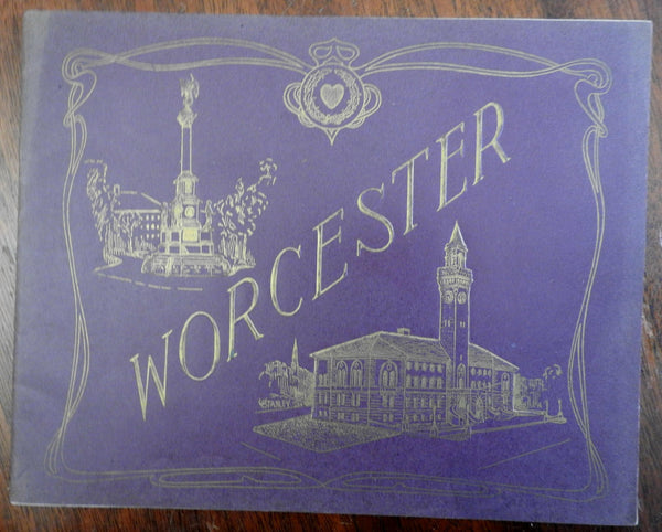 Worcester Massachusetts city views 1905 illustrated souvenir album street scenes