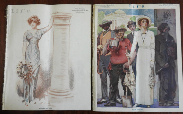 Women's Suffrage Female Voting rights anarchists 1913 Life Magazine x 2 issues