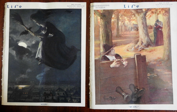 Halloween Witch on Broomstick & Pilgrim in Stocks Life 1913 lot x 2 issues