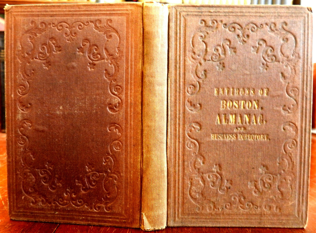 Boston Mass. almanac business directory 1849 guidebook w/lg. city plan map & Ads