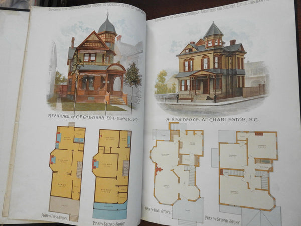 Scientific American 1890 Building Architecture 12 home design issues w/ color