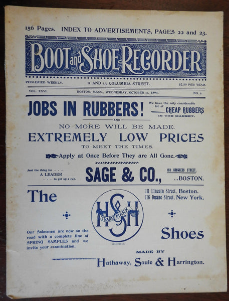 Boot & Shoe Recorder 1894 Boston trade magazine illustrated period advertising