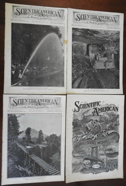 Scientific American 4 issues 1908-11 illustrated sciences inventions fire coal