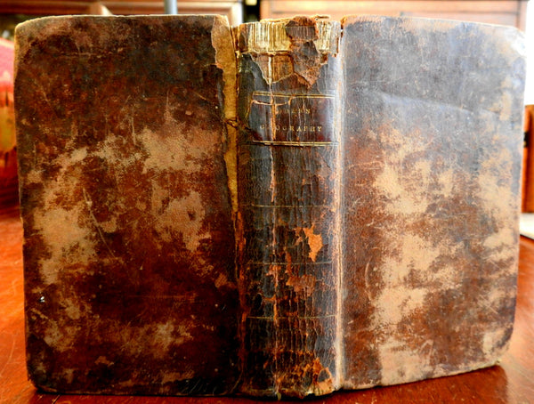 Modern Geography 1805 Benjamin Davis rare early American leather book