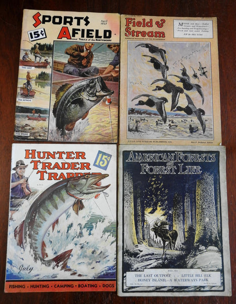 American Sporting & Outdoor Magazines 1920's-30's Lot x 4 hunting fishing hiking