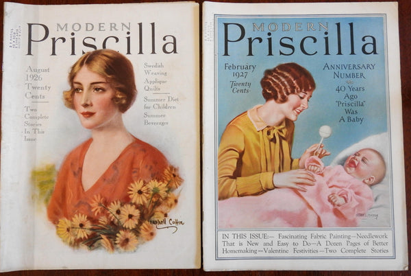 Modern Priscilla 1926-7 American Women's magazine 2 issues Home arts many ads