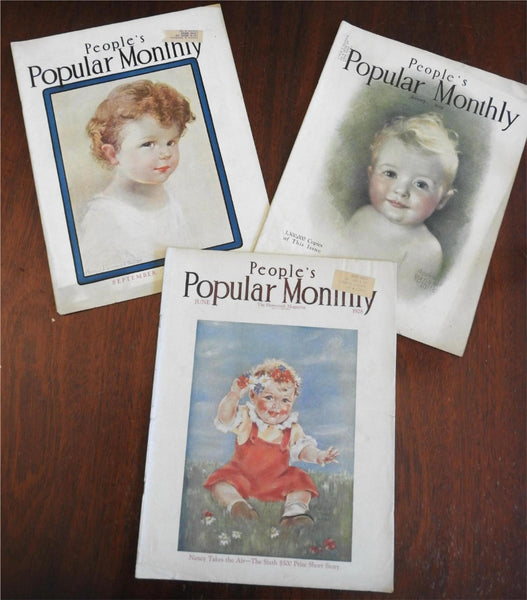 People's Popular Monthly 1928-9 illustrated American magazines lot x 3 issues