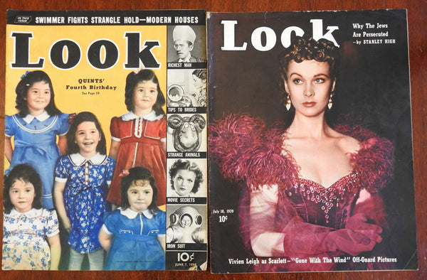 Look Magazine 2 issue lot 1938-9 Movies Spanish Civil War Judaism Vivien Leigh
