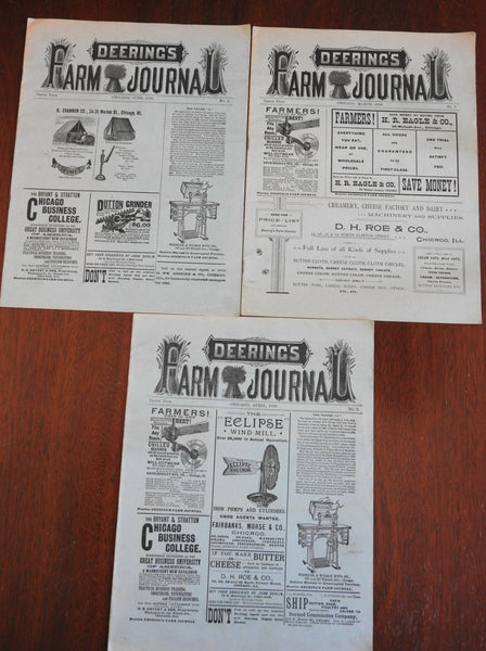 Deering's Farm Journal 3 issue Lot 1890 illustrated period advertising Americana