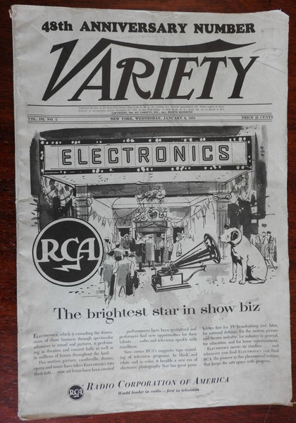 Variety Magazine January 1954 rare 48th anniversary edition movie arts magazine