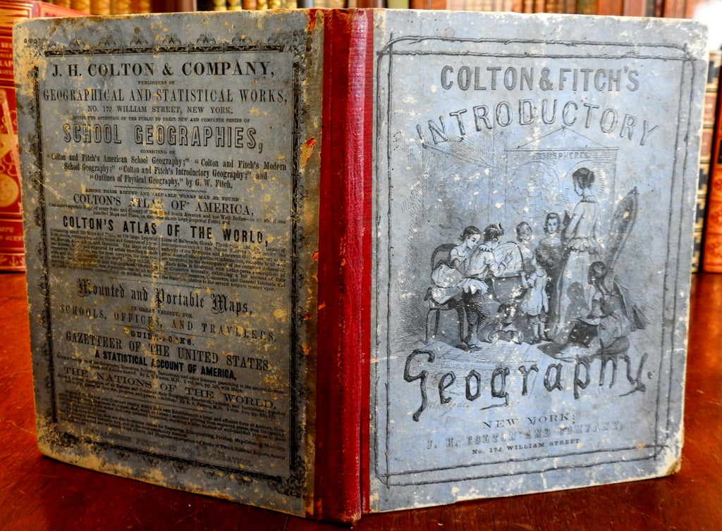 Colton Geography for Schools geographical textbook 1856 many hand color maps
