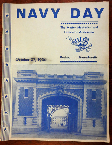U.S. Navy Day Boston Master Mechanic & Foreman 1936 illustrated souvenir program
