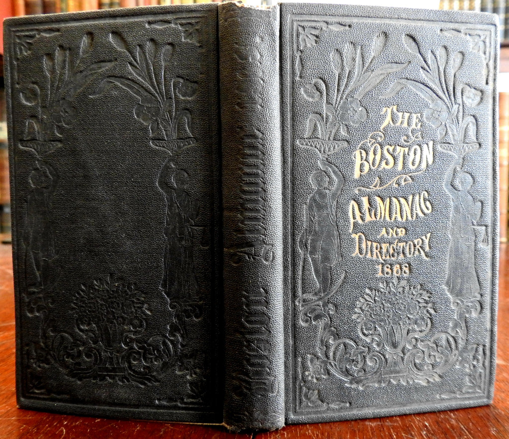 Boston Almanac MA 1868 large city map rare book advertising business directory