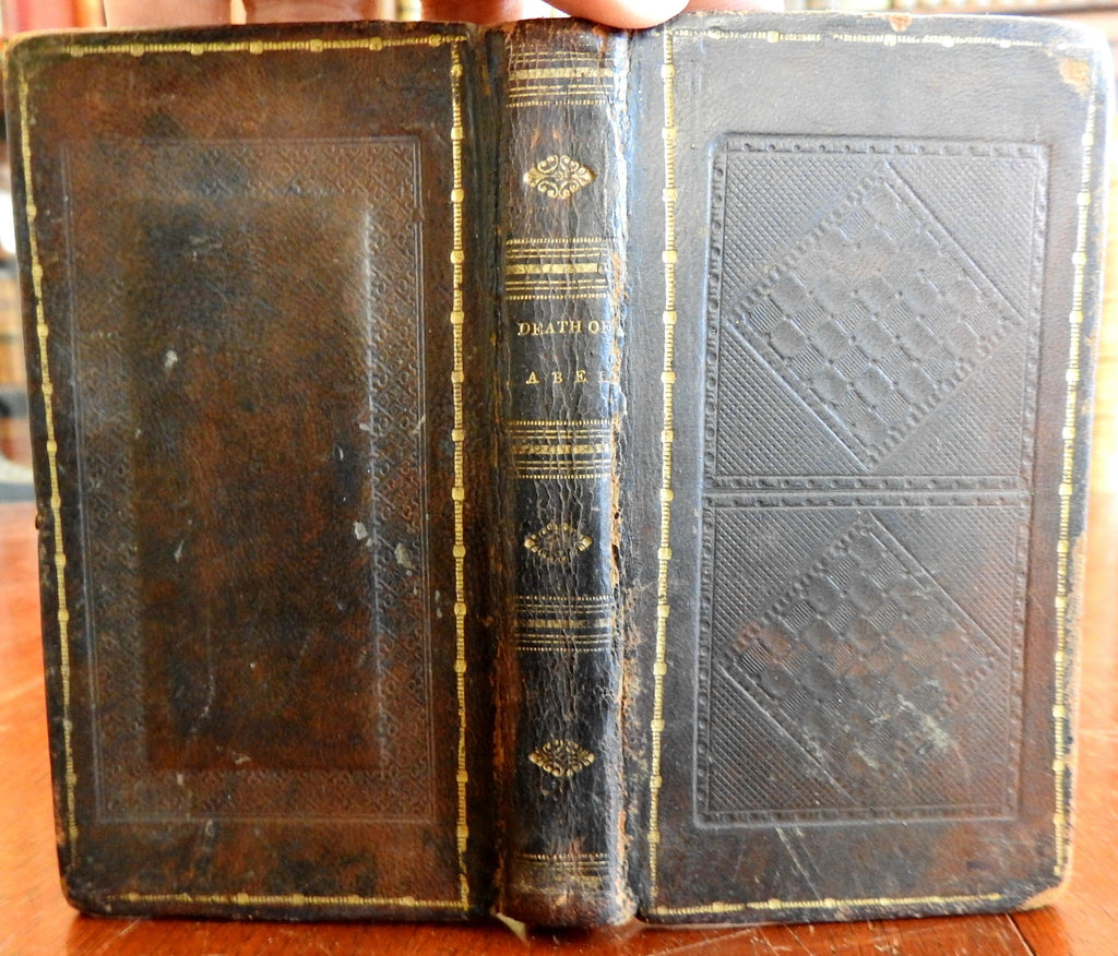 Death of Abel 1825 Gessner rare American embossed special leather book
