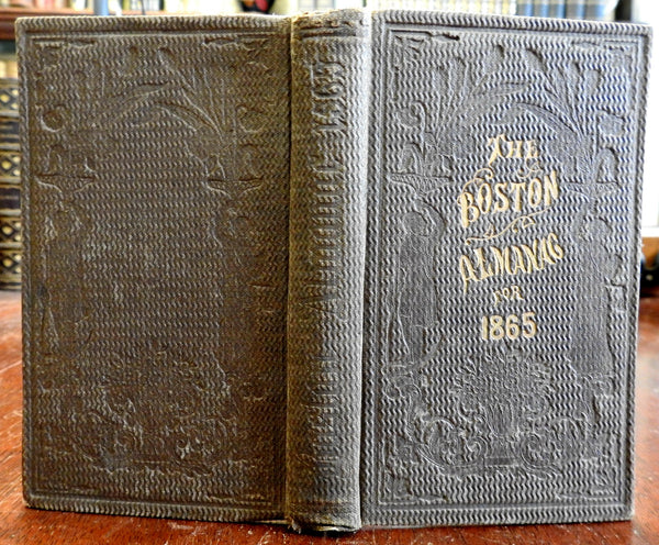 Boston Almanac MA 1865 large city map rare book advertising business directory