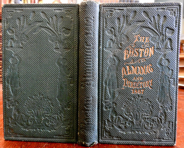 Boston Almanac MA 1867 large city map rare book advertising business directory