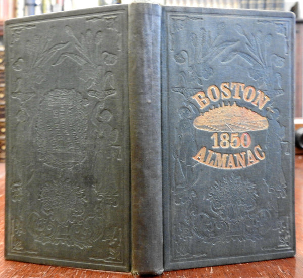 Boston Almanac MA 1850 large city map rare book advertising business directory