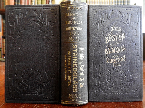 Boston Almanac Mass 1886 large city map rare book advertising business directory