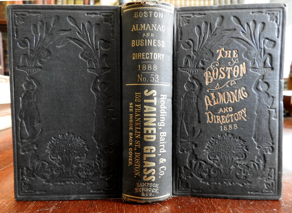 Boston Almanac MA 1888 large city map rare book advertising business directory