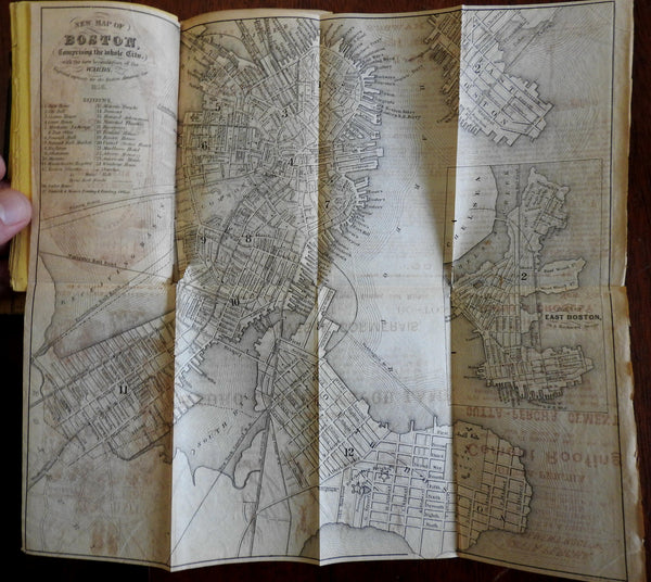 Boston Almanac Mass. 1861 city map rare book advertising business directory