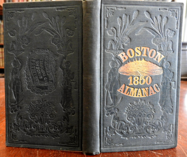Boston Almanac Mass. 1850 city map rare book advertising business directory