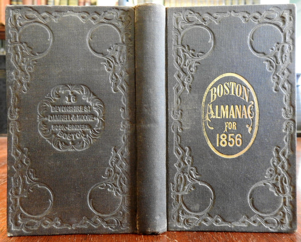 Boston Almanac Mass 1856 city map rare book advertising business directory