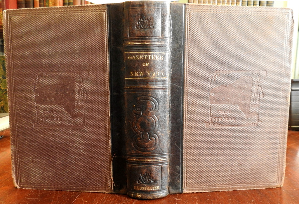 Gazetteer of New York State 1860 illustrated leather book geography geology