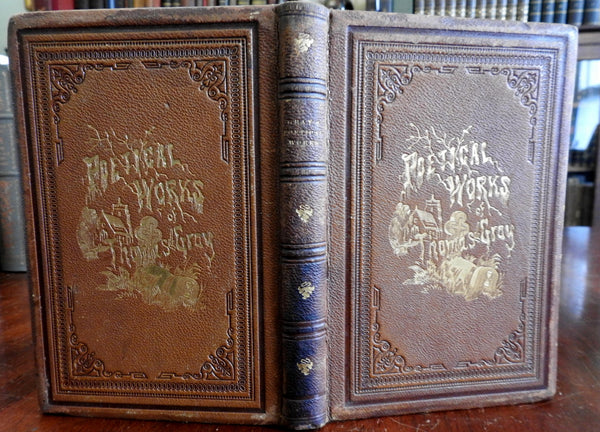 Poetical Works Thomas Gray 1867 beautiful leather gift edition w/ 5 engravings