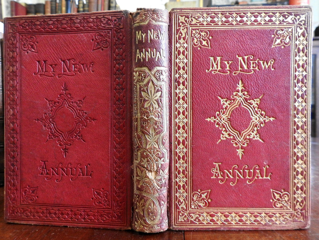 My New Annual: A Christmas and New Year's Gift c. 1850's decorative leather book