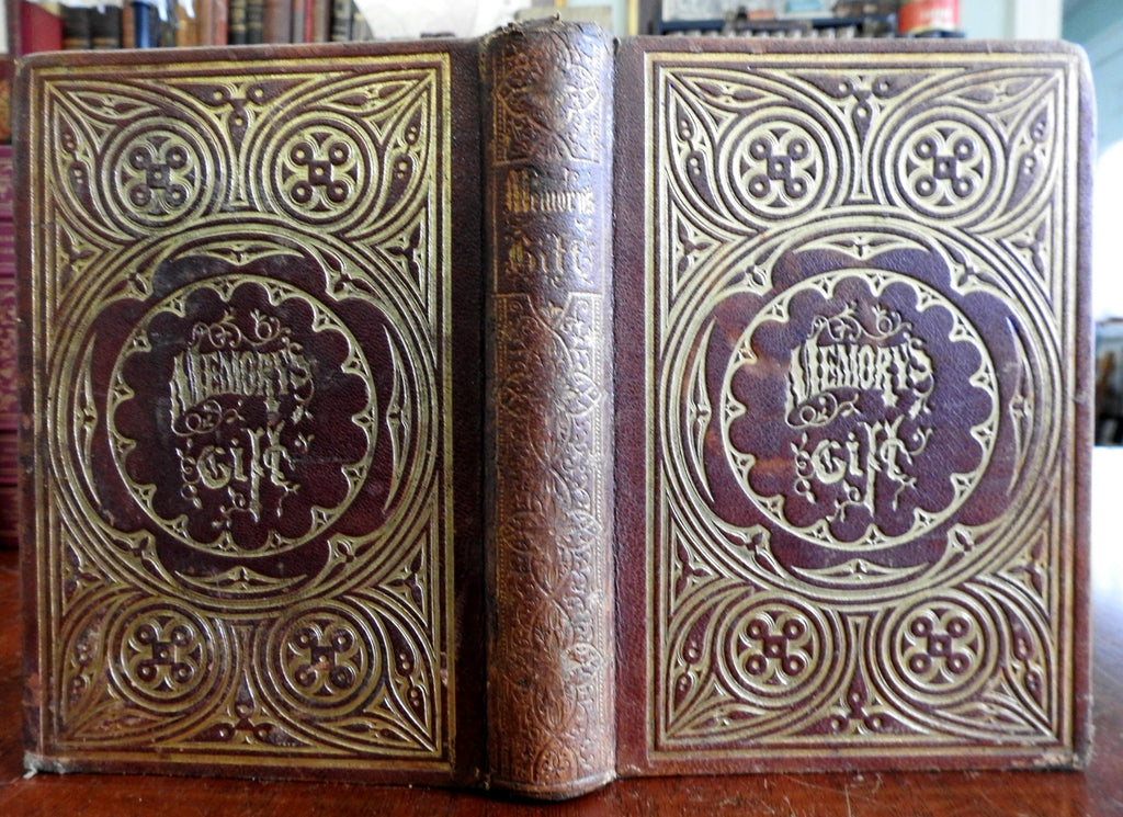 Memory's Gift 1850's decorative leather binding poetry illustrated book