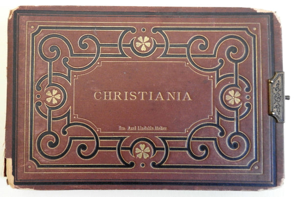 Christiania (Oslo) Norway c.1880 rare souvenir photo album 12 mounted albumens