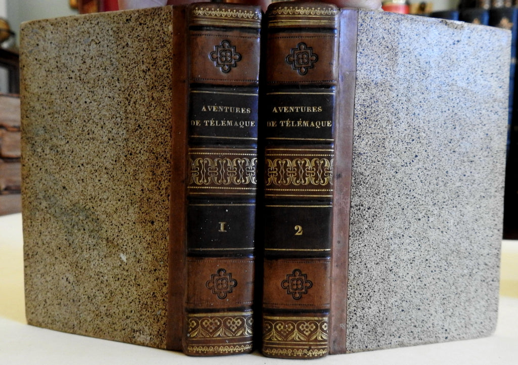 Adventures of Telemachus Francois Fenelon 1824 old 2 vol. leather books French
