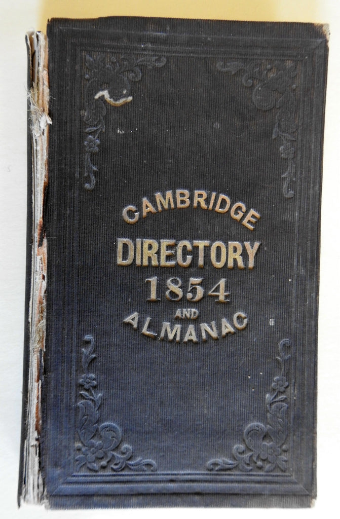 Cambridge Massachusetts Directory & Almanac 1854 old book