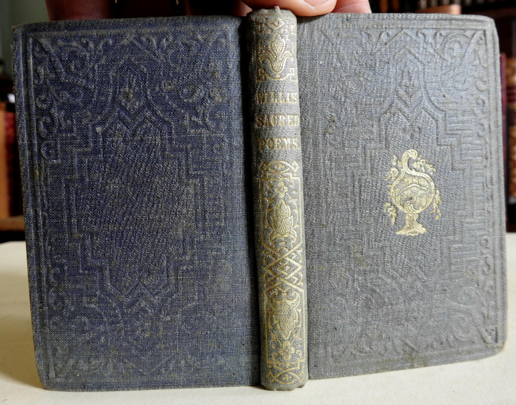 Sacred Poems N.P. Willis 1851 gift edition decorative binding nice small book